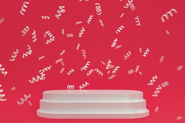 Fond de scène abstrait avec podium blanc sur fond rouge, confettis et confettis pour la présentation de produits cosmétiques