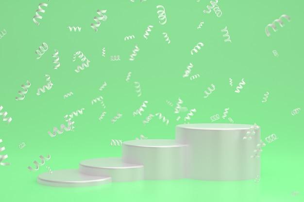 Fond de scène abstrait avec podium blanc sur fond vert, confettis et confettis pour la présentation de produits cosmétiques