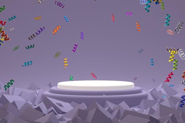 Fond de scène abstrait avec podium blanc sur fond violet, confettis et confettis pour la présentation de produits cosmétiques