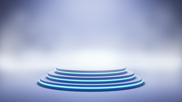 Fond de scène bleu néon moderne, rendu 3d