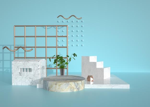 Fond de scène géométrique avec podium en marbre pour produit de stand