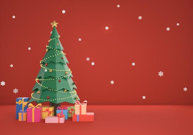 Fond de scène rouge de noël 3d avec boîte-cadeau