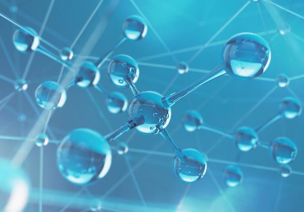 Fond de science avec une molécule ou un atome.