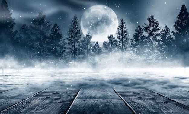 Fond sombre de la forêt d'hiver abstrait.