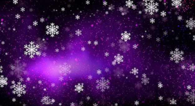 Fond sombre violet avec des étoiles et des flocons de neige