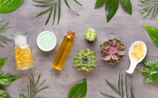 Fond de spa avec un espace pour un texte. carte de voeux spa wellnes. thème de l'aromathérapie, cosmétique bio faite à la main. mise à plat.
