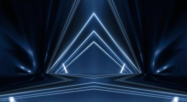 Fond de spectacle de scène vide. spectacle de lumière néon et laser. laser formes futuristes sur fond sombre. néon bleu, réflexion symétrique