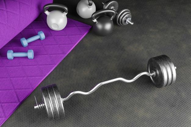 Fond de sport avec copyspace. vue de dessus des haltères gris, kettlebell noir et gants d'entraînement