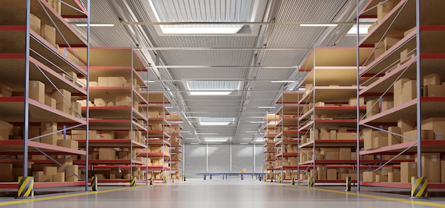 Fond de stock entrepôt de marchandises rendu 3d