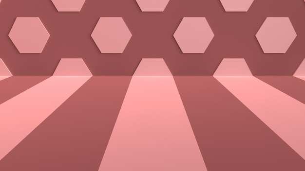 Fond de studio avec des rayures sur le sol et des hexagones sur le mur
