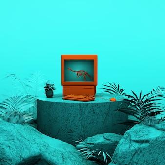 Fond de studio turquoise, plate-forme ronde turquoise avec des détails en or, rendu 3d, scène avec des formes géométriques