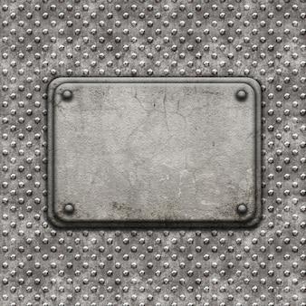 Fond style grunge avec des rivets en métal et plaque de pierre