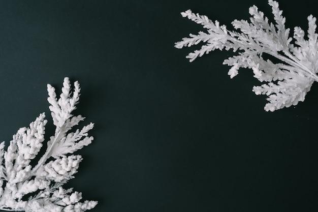Fond de table de noël sombre avec des branches d'arbres de noël blancs. composition de la frontière. style plat laïc. carte de voeux de nouvel an.