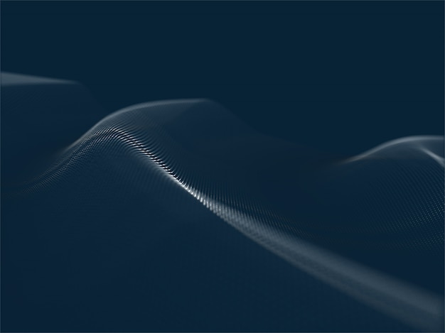 Fond de techno moderne 3d avec des particules à faible profondeur de champ