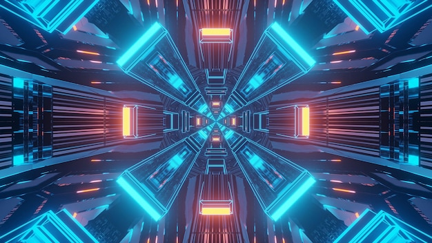 Fond de techno de science-fiction futuriste de rendu 3d avec des lumières créant des formes cool