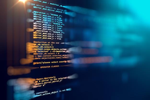 Fond de technologie abstrait de code de programmation de développeur de logiciels et de script informatique