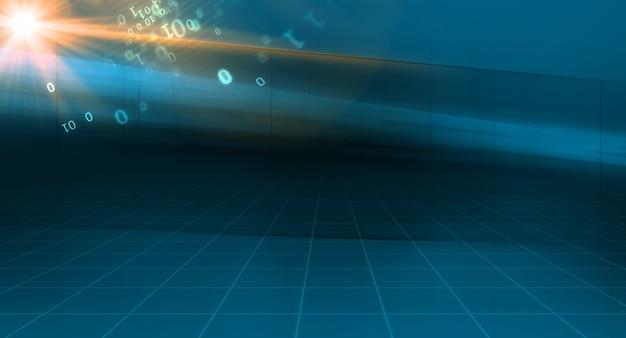 Fond de technologie abstraite graphique avec grille d'espace 3d