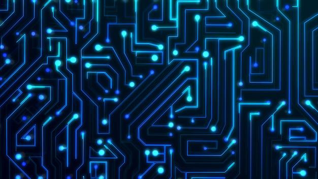 Fond de technologie de carte de circuit imprimé bleu foncé. conception graphique