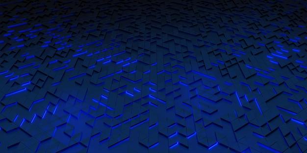 Fond de technologie de lueur d'abstraction géométrique de pixel de triangle rendu 3d de structures complexes