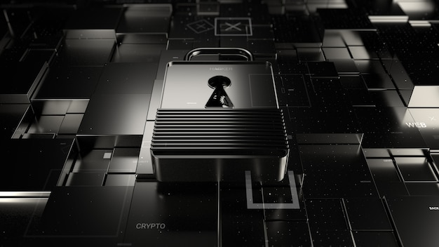 Fond de technologie de rendu 3d abstrait. thème numérique. la serrure repose sur une surface fracturée avec des primitives carrées déplacées au hasard. matériaux métalliques et éléments de particules.