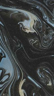Fond de téléphone abstrait noir aquarelle et paillettes d'or