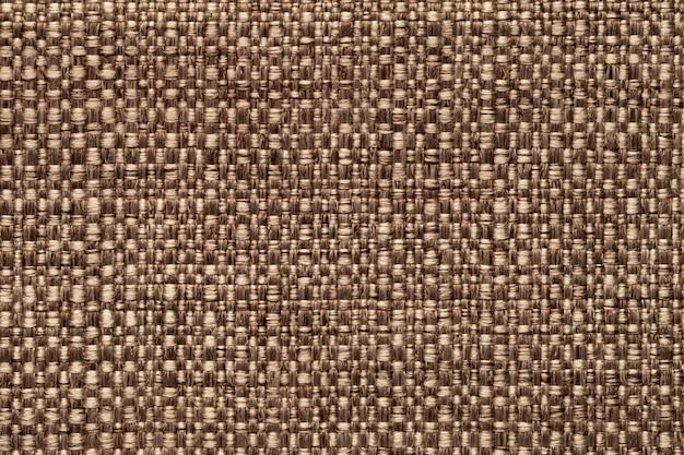 Fond textile marron, gros plan. structure de la macro de tissu.