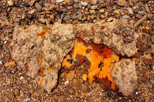 Fond et texture de l'acier rouillé sur la plage.