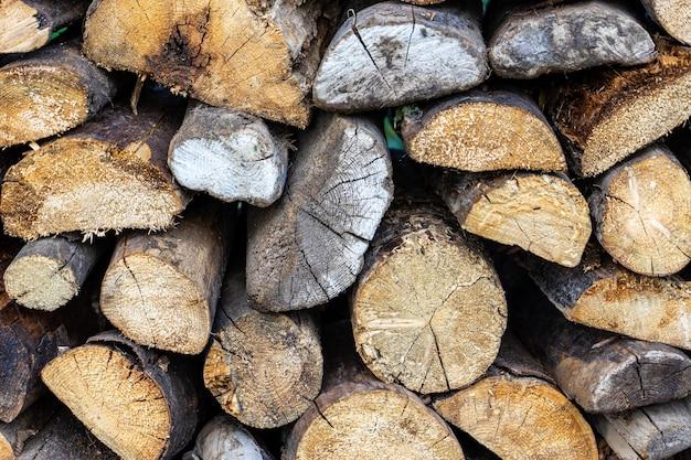 Fond de texture de bois de chauffage sec fendu