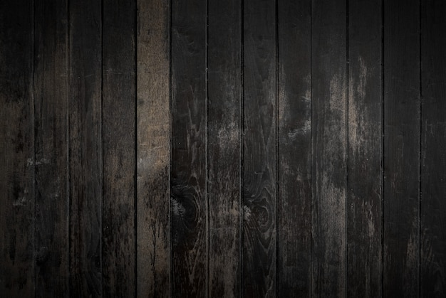 Fond de texture bois noir provenant d'arbre naturel. vieux panneaux en bois