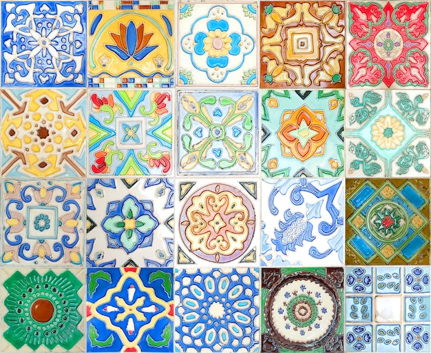 Fond de texture de décoration murale de carreaux de céramique talavera mexicain coloré