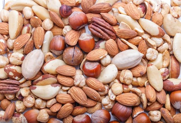 Fond et texture fabriqués à partir de différents types de noix.