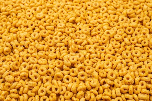 Fond et texture de flocons de maïs. vue de dessus.