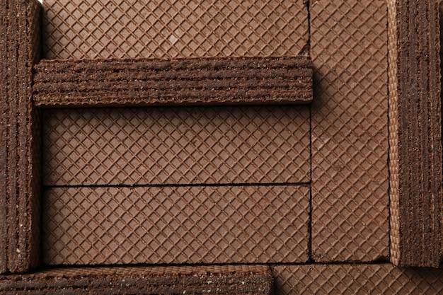 Fond de texture de gaufrettes au chocolat sucré, gros plan