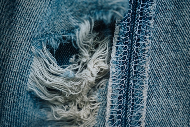 Fond de texture de jeans en détresse mise au point sélective