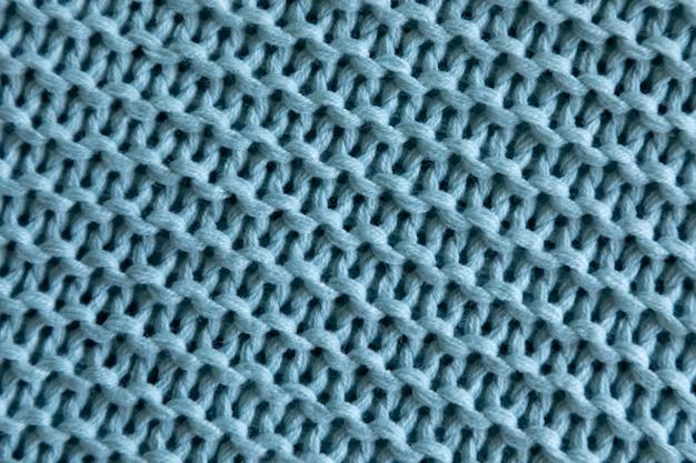 Fond de texture de laine à tricoter bleu fait main