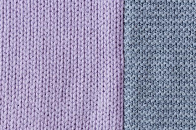 Fond de texture de laine à tricoter gris et lilas