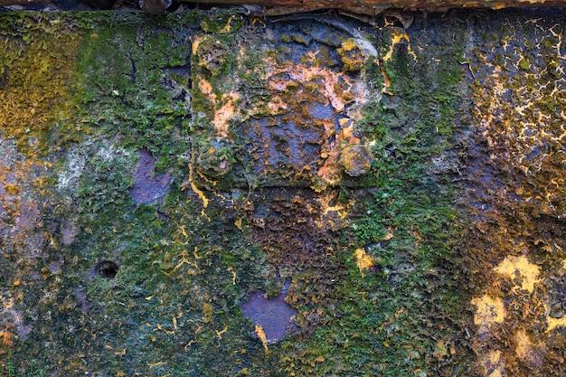 Fond de texture. modèle. fer antique recouvert de rouille et de mousse de lichen. surface rouillée d'une feuille de fer.