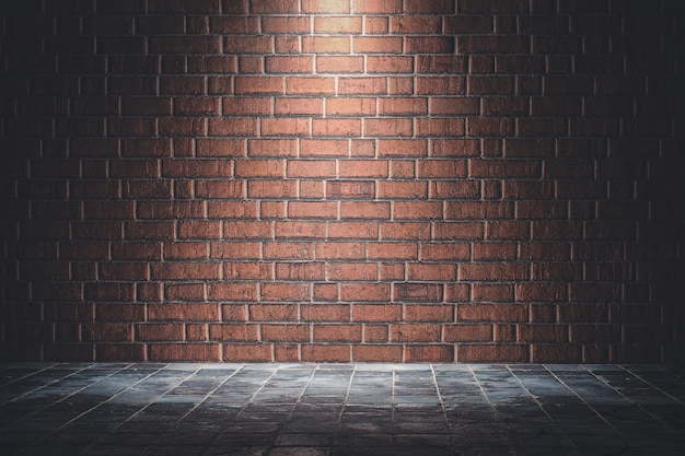 Fond de texture de mur de brique rouge avec lumière ies