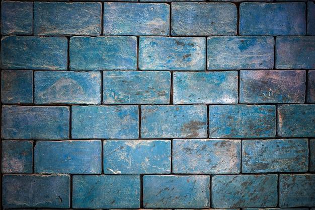 Fond de texture, mur de briques bleu clair.