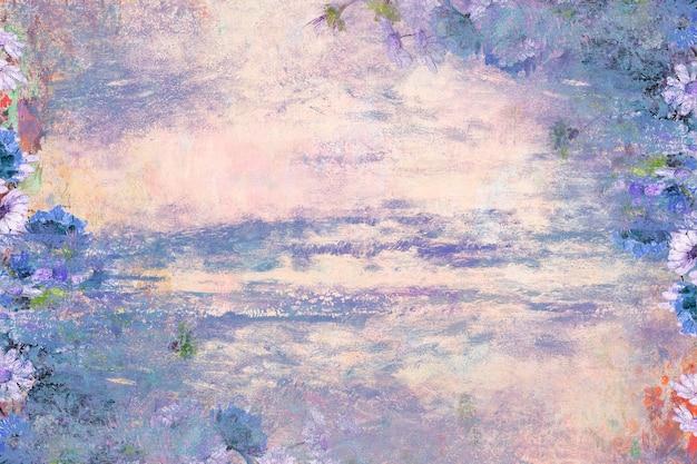 Fond texturé mur floral violet