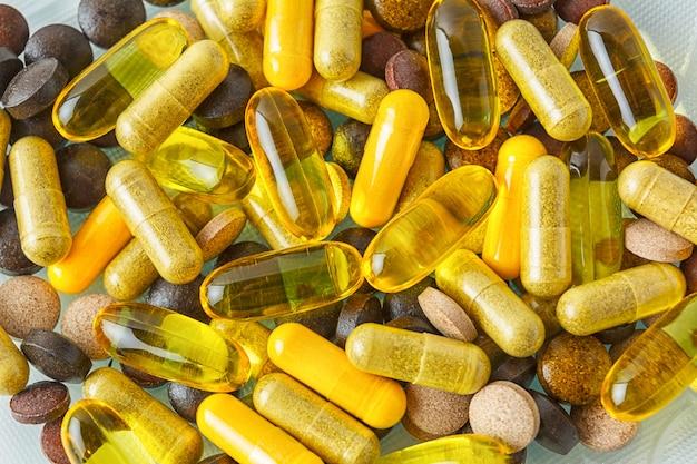 Fond de texture de pilules de vitamine