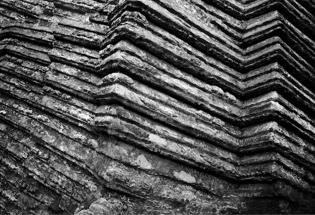 Fond de texture de roche pointue diagonale noir et blanc