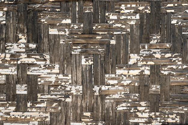 Fond de texture vieux treillis de tissage en bois, gros plan