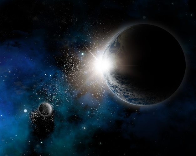 Fond sur le thème de l'espace avec la terre, la nébuleuse et les étoiles