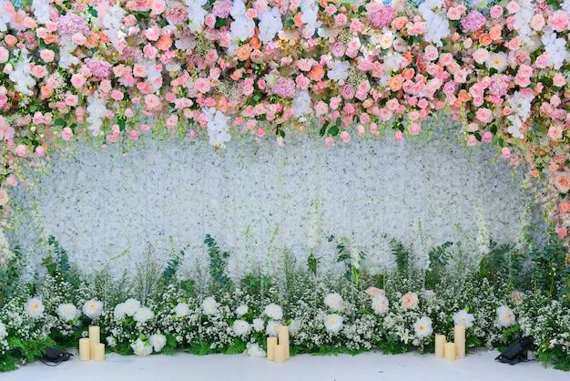 Fond de toile de fond de fleur de mariage, fond coloré, rose fraîche, bouquet de fleurs