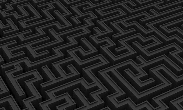 Fond de ton noir minimaliste d'un labyrinthe géométrique
