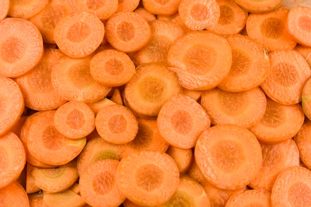 Fond de tranches de carottes fraîches