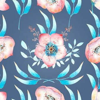 Fond transparent avec fleurs d'hellébore rose, bourgeons, feuilles, branches décoratives sur fond bleu. illustration à l'aquarelle, faite à la main.