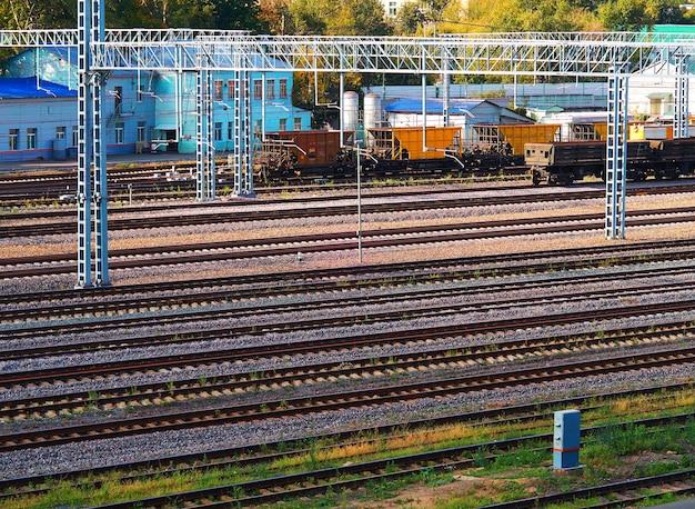 Fond de transport de voies ferrées vides