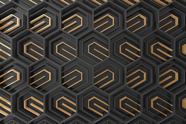 Fond tridimensionnel noir et or